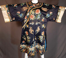 Antique Chinese Silk Forbidden Stitch Embroidery Butterfly Peony Manchu Robe Vtg