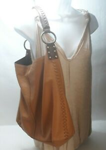 Lucky Brand Tan Pebbled Leather Whipstitch Hobo Slouch Distressed Handbag Purse