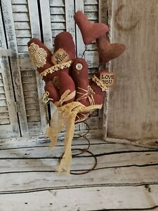 "Handmade Primitive Valentine's Hearts Nodder 11"" Tall"