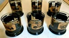 4 MACK TRUCK WHISKEY GLASSES WIDE BOTTOM SMOKE BAR GLASS 8 oz. and 2 Water Glass