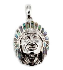 925 Silver Abalone Native American Indian Chief Pendant
