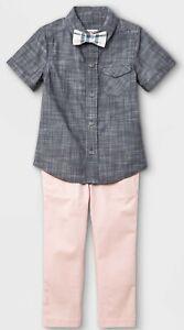 Cat & Jack 3-Pc Blue Woven Shirt - Pink Pants - Plaid Bowtie Outfit Boys 4T NWT