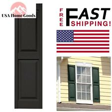 "Black Raised Panel Vinyl 15""x55"" Exterior Shutters Pair Rectangle Window Shutter"