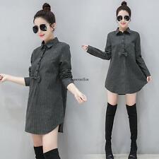New Korean Women Slim Striped Long Blouse Shirt Party Micro Mini Dress Black 2XL