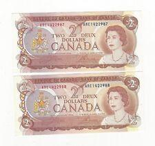 **1974** Canada $2 Note BC-47b Cro/Bou Ser# ARE 1422987-88 Seq. Pair