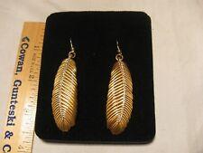 """Gold-tone Feather Earings w/Stones Pierced Earrings 2"""" Long."""