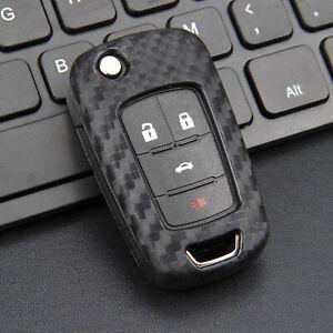 Silicone Carbon Fiber Car Flip Key Case Cover For Chevrolet Cruze Buick LaCrosse