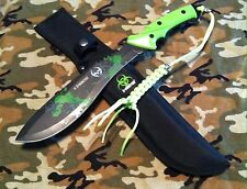 Zombie Slayer Biohazard Z- Hunter Fixed Blade Sawback Machete Knife & Sheath