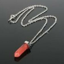 Natural Gemstone RED ROCK QUARTZ Crystal Healing Chakra Reiki Silver Pendant =