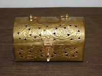 """VINTAGE INDIA 6"""" X 3 1/4"""" X 3 1/2"""" HIGH BRASS INCENSE TREASURE CHEST"""
