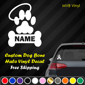 Custom Dog Paw Bone Halo Vinyl Decal Sticker | Rest in Peace Memorial Memory 235