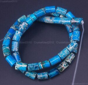 "Natural Imperial Sea Sediment Jasper Gemstone Tube Space Beads 6mm x 10mm 15.5"""