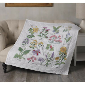 Stamped Cross Stitch ~ Plaid/Bucilla Wildflower Botanical Lap Quilt #47882E