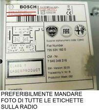 codice sblocco autoradio recupero radio lancia musa fiat idea blaupunkt o bosch