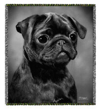Pug Face (gray) -Tom Weigand` DOG WOVEN Tapestry Throw Blanket - Pooch Power