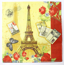 Lot 20 Mouchoirs Serviette Papier Souvenir Paris France Tour Eiffel 17,5 cm A