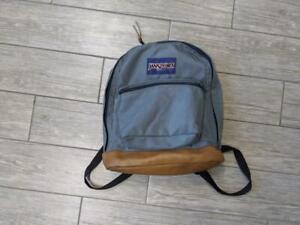 1990s vintage JANSPORT usa made COWHIDE LEATHER canvas backpack