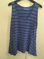 VIGORELLA blue striped sleeveless loose fit top-one size