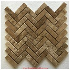 Herringbone Travertine Honed Mosaics Backsplash Polished Kitchen Tile Bathroom