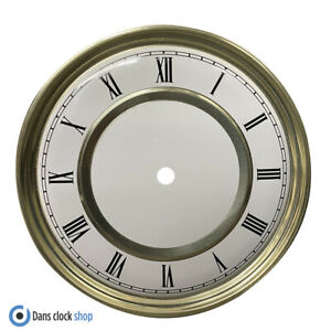 New Round 180mm Metal Clock Dial Face Black Roman Numerals Gold & White Face