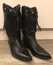 RH Brand Black Leather Cowboy Bohemian Loblan Boots Fringe Trim Eur 40