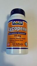 NOW Foods Lycopene 10mg 120 Softgels Antioxidant Natural Tomato Extract 06/30/17