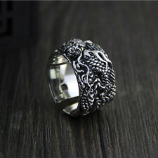 Heavy Solid 925 Sterling Thai Silver Ring Dragon Design Men's Open Size 9 to 12