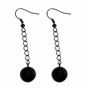 2 pcs (1 pair) Black Earring Dangle Hooks Settings Bezels Cabochons – 10mm Glue