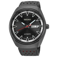 Seiko Mens SNKN45 Recraft Series Black Dial Black Leather Strap Watch