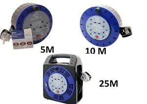 4WAY 5M/10M/25M CABLE EXTENSION REEL LEAD MAINS SOCKET HEAVY DUTY ELECTRICAL