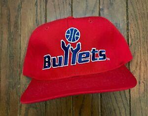 Vintage 90s Washington Bullets NBA Starter Snapback Hat Baseball Cap