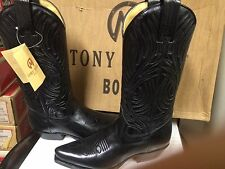 Tony Mora Womens Black Leather Western Boot 3389 Size 5 New