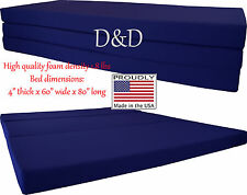 "Queen Size Navy Trifold Floor Foam Beds 4""x60""x80"" Foldable foam Ottoman Bed"