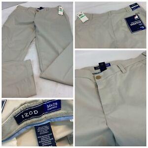 Izod SportFlex Golf Pants 34x29 Tan Poly Cotton Lycra Straight NWT YGI F1-38