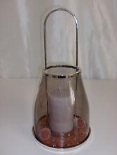 Casablanca Windlicht mit Henkel Glas Metall incl. Deko Kerze und Sand grau
