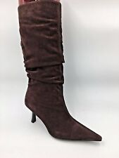 """Aldo Brown Suede Pointed Toe 3"""" Kitten Heels Slouch Boots size 7.5M 38 BN"""