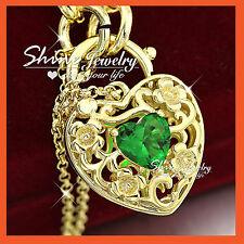 24K GOLD GF GREEN EMERALD HEART PADLOCK BELCHER RINGS CHAIN BANGLE BRACELET GIFT