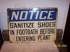 """New listing Vintage Unique Plant / Factory """" Sanitize Shoes """" Before Entering Plant Sign"""