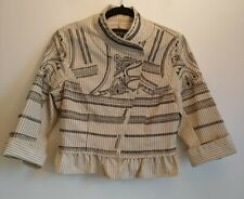 Ladies Topshop Kate Moss Jacket Size UK 10 Cream & Black Embroidered Cropped