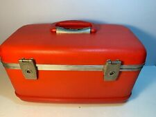 Vintage Amcrest RED Overnight Vanity Case MCM Tall Air Train Case