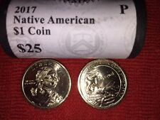 2018-D /& P BU $25.00 FACE MINT WRAPPED DOLLAR ROLL NATIVE AMERICAN SF-RM