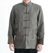 Doble Dragones Chinese Oriental Hombre Kung Fu ante gris top camisa larga