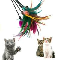 1PC Fun Kitten Toy Cat Feather Bell Wand Teaser Rod Bead New Ball Play Toy N6N4