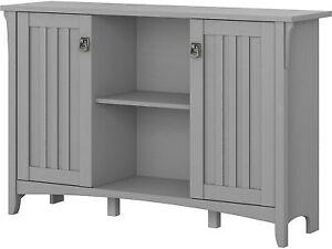 Gray Grey Wooden Buffet Console Storage Cabinet China Server 2 Doors Curio Shelf