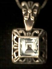 Vintage 925 Silver and Square Blue Topaz with Adjustable Box Chain