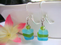 Stacked Caribbean Blue & Green Sea Glass Square Crystal Silver Dangle Earrings