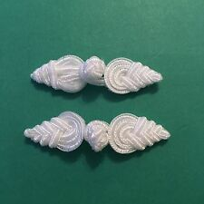Pair Of White Frog Fasteners 7.5cm #437