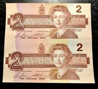 1986 $2 BANK OF CANADA UNCUT SHEET OF TWO PREFIX EGT- UNC!!