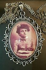 Edwardian Tattooed Lady Antique Silver Pendant Necklace Body Art Circus Freaks