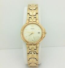 NEW SEIKO SWG074 Women's Gold Plated Stainless Steel Analog Watch